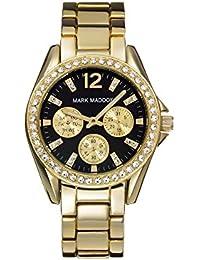 Mark Maddox-Reloj de cuarzo para mujer con esfera analógica de color negro y oro pulsera MM3020-55(Reacondicionado Certificado)