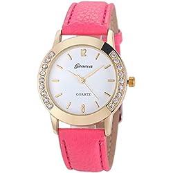 WINWINTOM Women Diamond Analog Leather Quartz Wrist Watch Hot Pink