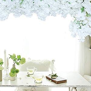 Li Hua Cat Guirnalda de flores de cerezo artificiales para colgar plantas de seda para bodas, fiestas, 1 pieza (blanco)