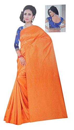 Super Stylish Elegant Plain Pattu Saree With Blouse (Orange Color)