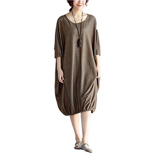 HGDR Sommer Der Beiläufigen Frauen Loses Rundhals Kurzarm Einfaches Einfaches Baumwollkleid Grey
