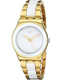 Swatch Damen-Armbanduhr XS Irony Medium Analog verschiedene Materialien Yellow Pearl YLG122G
