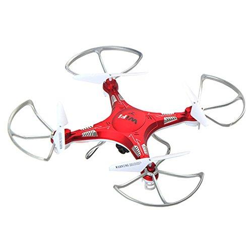 OOFAY® Drohne mit Kamera KK6 Fernsteuerungsflugzeug WIFI Realzeitdrohnen-Höhen-Quadrocopter, das Hubschrauber-Spielzeug auflädt, red