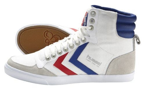 hummel SLIMMER STADIL HIGH CANVAS 63-111-9227, Baskets mode mixte adulte Blanc (Off-White/Black 9227)