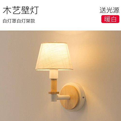 LIYAN minimalistische Wandleuchte Wandleuchte E26/E9753Wandleuchte doppelbett Schlafzimmer kreative Persönlichkeit Holzarbeiten schöne Gang led Kinderzimmer, weiße Lampe weißes Licht stehen (Glas-elemente Stehen)