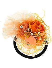 Anuradha Art Orange Colour Designer Stylish Hair Accessories Hair Band Stylish Rubber Band For Women/Girls