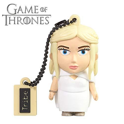 Tribe Game of Thrones Daenerys USB Stick 16GB Speicherstick 2.0 High Speed Pendrive Memory Stick Flash Drive, Lustige Geschenke 3D Figur, USB Gadget aus Hart-PVC mit Schlüsselanhänger - Weiss -