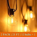 Catena Luminosa Esterno LED 24+2 Bulbi,Tomshine Illuminazione Giardino Luci Stringa Lampadina con 12X2+2 G40 LED Bulbi [Classe di efficienza energetica A+]