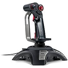 Speedlink Joystick für PC / Computer - Phantom Hawk Flightstick USB (12 Tasten, 8-Wege-Schalter - Stufenloser Schubregler, Vibration - Controller für Flugsimulator oder andere Simulator-Spiele) schwarz