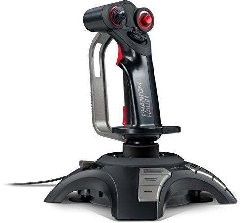 Speedlink Phantom Hawk Flightstick - Flightstick ergonomico con poggiamano per destrimani (Force Vibration, Controllo Throttle, Comando Hat a Otto direzioni) Nero