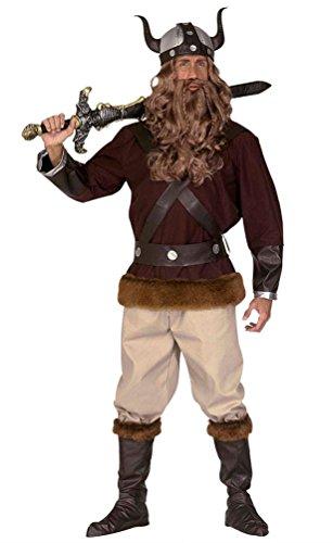 ikinger-Kostüm Herren Wikinger Luxus Nordmann-Kostüm mit Wikinger Helm Herren-Kostüm Größe 48 ()