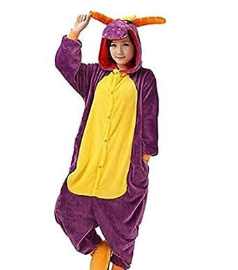 "Zicac Unisex Adult Anime Cosplay Costumes Onesie Children and Adult Pajamas Pyjamas Sleepwear Nightclothes Cosplay Gift For Hallowmas (Adult Height   180-186cm(70.9""-73.2""), Purple Dragon)"
