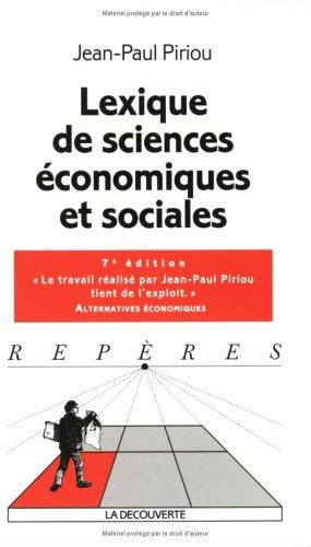 Lexique des sciences économiques et sociales par Jean-Paul Piriou