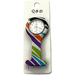 QBD Clip Series-Nurses Glowing Hands Red Cross Patterned Silicon Rubber Fob Watch - Stripes