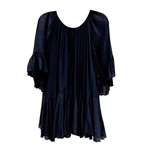 OYSOHE Damen Bluse, Boho Rüschen Shirts Schmetterlingshülse Unregelmäßige Frauen Sommer Tops (Hose Eisen-polyester)