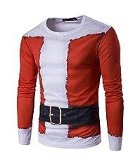 Idea Regalo - Uomo Magliette Costume Babbo Natale Maniche Lunghe T-Shirt Natale Slim Fit Camicetta XL