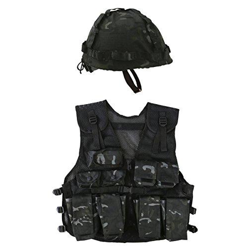 Kombat UK Kinder Militärweste- und Helm-Set, Schwarz, Einheitsgröße - Helm Kinder T-shirt
