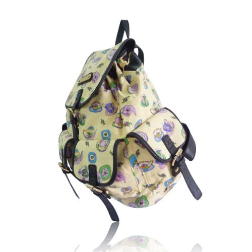 Anna Smith Di Lydc Utensils Backpack / Ladies Girl Tea Cups Piatti Borse A Tracolla / Zaino (bianco) Giallo