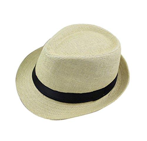 5dc9582a89069 Leisial Sombrero de Jazz Playa Paja Panama Estilo Británico Deporte al Aire  Libre Gorro del Sol ...