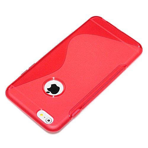"deinPhone Apple iPhone 6 6S Plus (5.5"") KUNSTLEDER FLIP CASE Hülle Tasche Eulen Happy Family S-Line Transparent Rot"