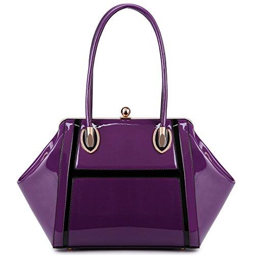 Miss LuLu Damentasche Elegant Schultertasche Shopper Tote Umhängetasche Handtasche Henkeltasche Patent PU-Leder (LT6618-Violett) (Patent Leder-shopper)