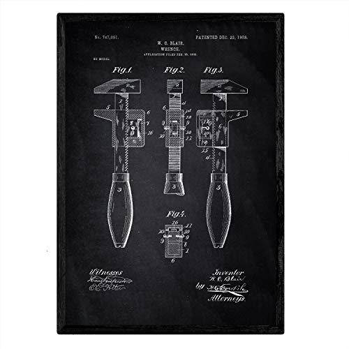 -Kunst Englisch 3. Key mit altem Design-Patent in der Größe A3 mit schwarzem Hintergrund ()