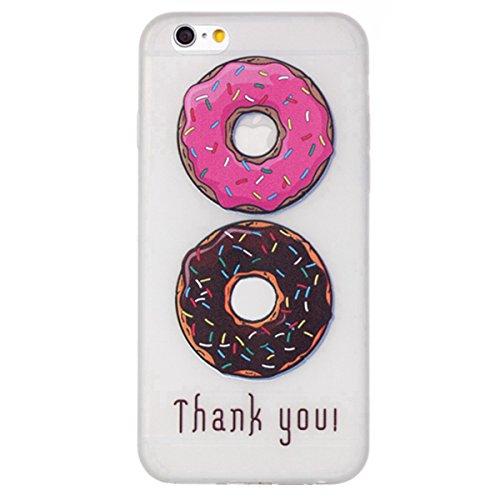 SainCat Coque Housse iPhone 6, Souple Coque Etui en Silicone, iPhone 6S Silicone Transparent Case TPU Cover, Etui de Protection Cas en caoutchouc en Ultra Slim Souple Cristal Clair Gel TPU Bumper Cas  Donuts#1
