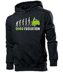 love-all-my-shirts Quad Evolution 548 Motorsport Männer Herren Hoodie Pulli Kapuzen Pullover Kapuzenpullover Sportbekleidung Sport Schwarz Aufdruck Grün L