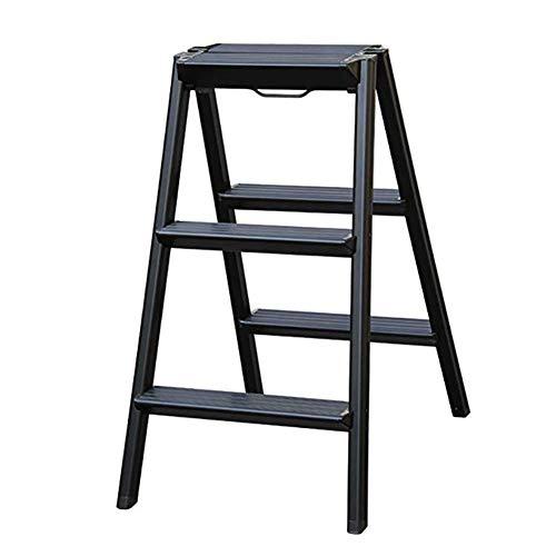 Black Hochschrank (WYNZYTD Schritt Hocker, Haushalt Aluminium Schritt Hocker, Klappleiter, Verdickung Leiter Leiter Hocker, 2 Farben Sind Optional (Color : Black))