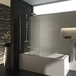 Meykoe 100x140cm Bathtub Shower Screen with Bifold Panel, Shower Enclosure for Baths with 6mm Saftey Tempered Glass
