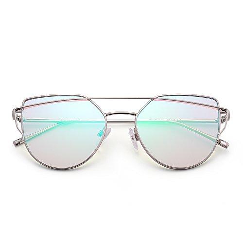 Retro Katzenaugen Sonnenbrille Oversized Flach Spiegel Linsen Twin Beam Rahmen Dame Herre(Silber/Blinken Grün) Sunny Beam