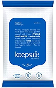 KeepSafe by Marico Hygiene Hand Wipes with Anti-bacterial Actives, Rich in Aloe & Glycerin, Skin-friendly,