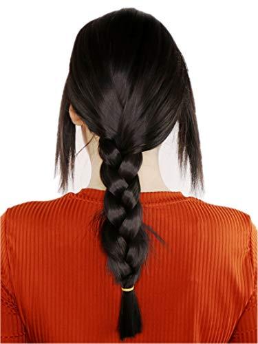 ang-Haar glatte Perücke mit Zopf natürliches Schwarz C1171 ()