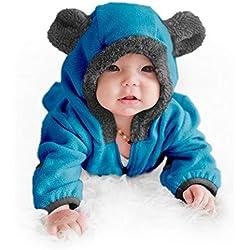 Funzies Forro Polar Chaqueta Ligera - Abrigo De Prenda Exterior De Invierno De Pijama para Bebés Oso Azul 0-3 Meses
