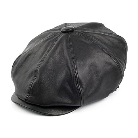 Bailey Hats Noclin Leather Newsboy Cap - Black