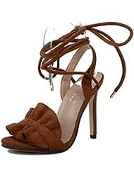 NobS Damas Mujeres Cómodo Bloque De Tacón Alto Zapatos Suede Sandalias Strappy Slip En Corte Zapatos Con Arco , brown , 38