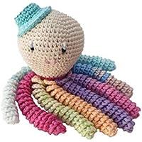 Pulpo amigurumi para recién nacido multicolor con sombrero azul. Pulpo de ganchillo - crochet para bebé ideal como regalo de nacimiento.