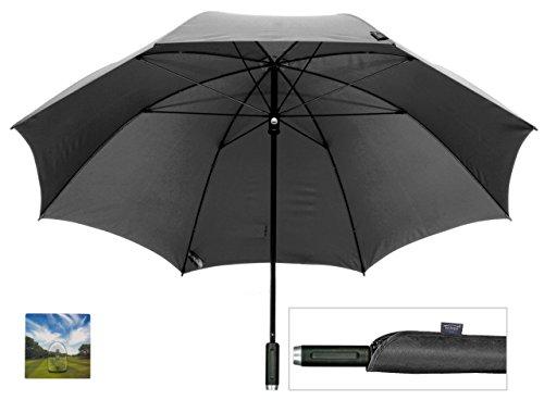 """GOLFSCHIRM - birdiepal """"rain"""" in XXL Farbe schwarz - der hochwertigste Schirm für Golfer + Aufhängehaken"""