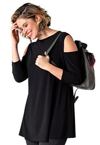 Yoek Damen Übergrößen T-shirt Schulterfrei Schwarz