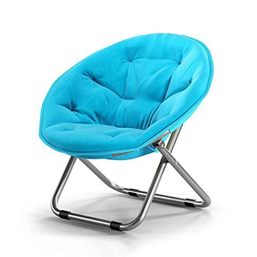 CAO-LIFE Klappbarer Runder Stuhl Steel + Canvas Sofa Chair Moon Chair Sonnenliegen Chaise Longue Starke Rutschfeste 5 Farben (Farbe : Hellblau) -