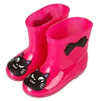 Anti-Slip Rain Boots for Children Kids Infant Baby Rainboots Cartoon Rubber Waterproof Warm Boots Boys Girls Rain Shoes(rose red) Jasnyfall