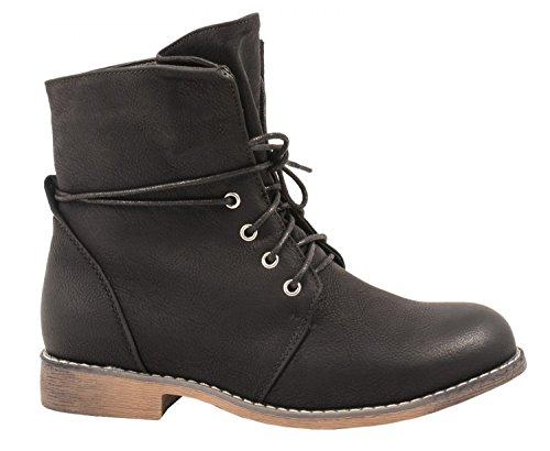 Elara Gefütterte Damen Stiefelette | Biker Boots | Trendy Lederoptik | Warm & Kalt Gefüttert Schwarz Leicht Gefüttert