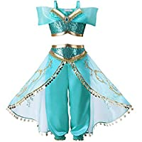 Amazing Tour Kids Aladdin Costume Princess Jasmine Outfit Girls Sequin Party Halloween Kids Child Fancy Dress 4-9 Years