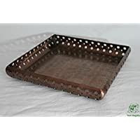 DonRegaloWeb - Centro de mesa cuadrado de aluminio en color cobre estilo árabe