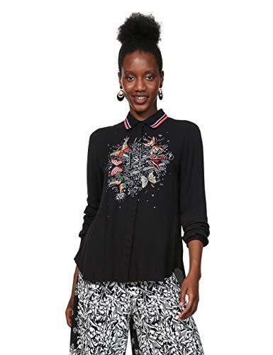 Desigual Damen Shirt Long Sleeve DINIA Woman Black Hemd, Schwarz (Negro 2000), XX-Large