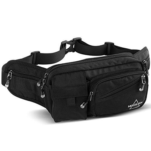MOSSLIAN Sport Gürteltasche Reise Bauchtasche Hüfttasche geeignet für Handy iPhone X 8 7 6 Samsung Galaxy S6 Huawei P10 Mate 9 HTC ONE bis 6 Zoll für Damen Herren Joggen,Fitness(schwarz) -