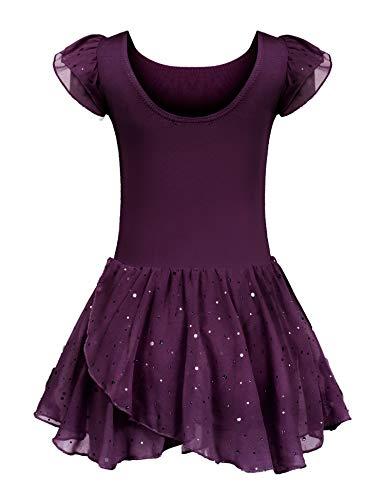 Kinder Ballettkleidung Ballettkleid Mädchen Kurzarm Baumwolle Balletttrikot Ballettanzug Tanzkleid Tanzbody mit Rock Tütü (Lila B, 140/6-7 Jahre)