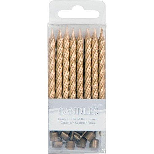 Kleine, metallische Kerzen mit Halter 16er Pack gold