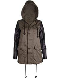 Womens New Contrast Sleeve Ladies Faux Leather Utility Pockets Fixed Hooded Adjustable Trim Parka Coat Jacket