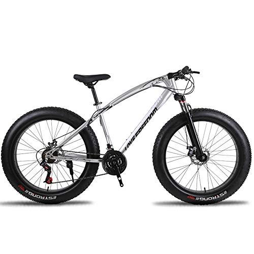 SIER 26 Zoll Geländewagen ATV 24 Geschwindigkeit Schneemobil Geschwindigkeit Mountainbike 4.0 großen Reifen Breiten Reifen Fahrrad,Silver